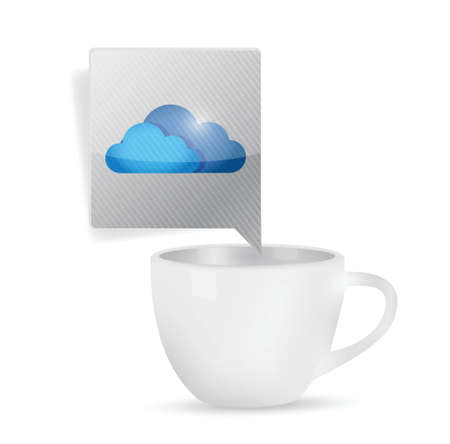 coffee mug and cloud message illustration design over a white background Vector