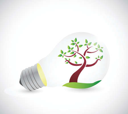 light bulb and tree illustration design over a white background