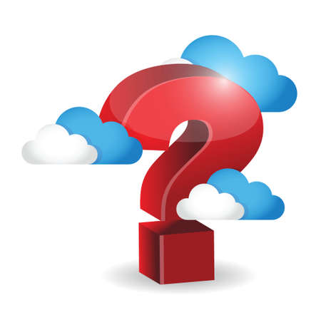 question mark around clouds. illustration design over a white background