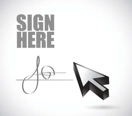 sign here signature and cursor illustration design over a white background