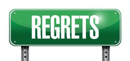 regrets signpost illustration design over a white background