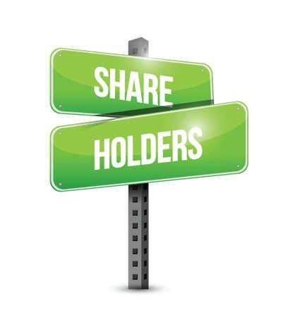 stockholder: share holders signpost illustration design over a white background