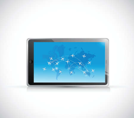 travel planes around the globe on a tablet.illustration design over a white background Vector