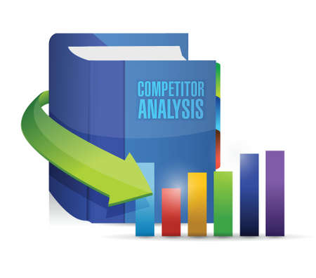 competitors: competitor analysis book illustration design over a white background