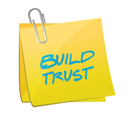 build trust post message illustration design over a white background