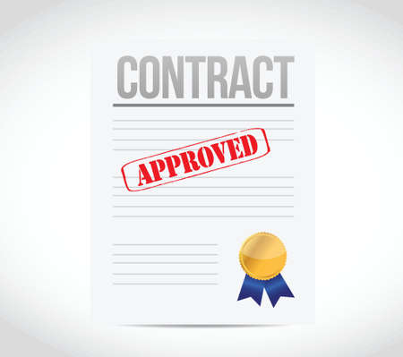autographing: approve contract and ribbon seal illustration design over a white background Illustration