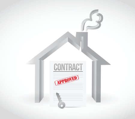 ratificaci�n: contrato de casa de bienes ra�ces Ilustraci�n de dise�o sobre un fondo blanco
