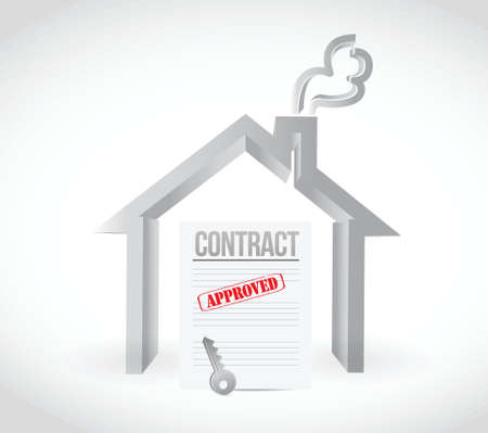 autographing: real estate home contract illustration design over a white background