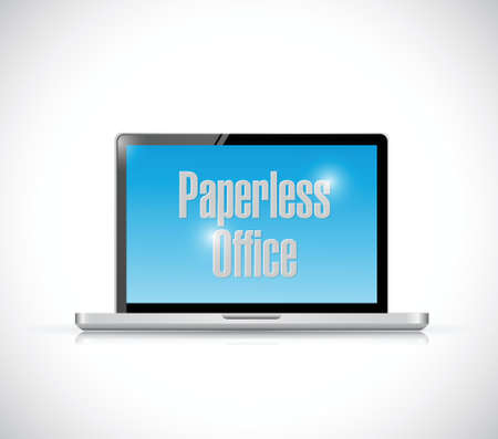 paperless: paperless office laptop illustration design over a white background
