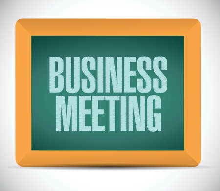 business meeting sign on a board. illustration design over a white background 일러스트