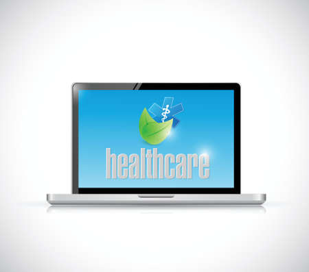 laptop and organic healthcare sign illustration design over a white background