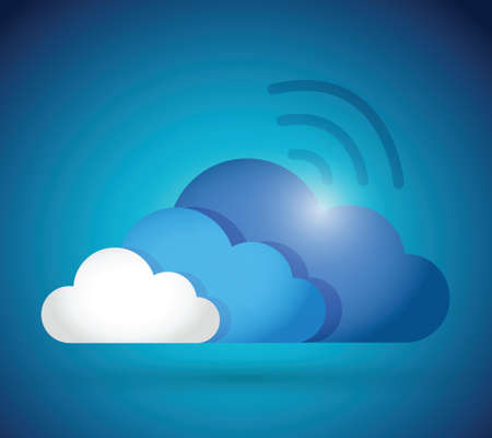 clouds and wifi connection illustration design over a blue background