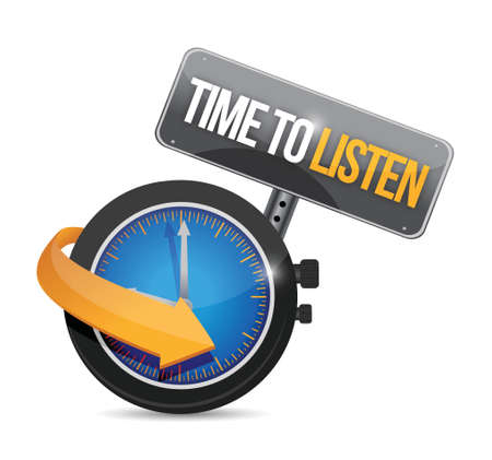 heed: time to listen watch illustration design over a white background Illustration