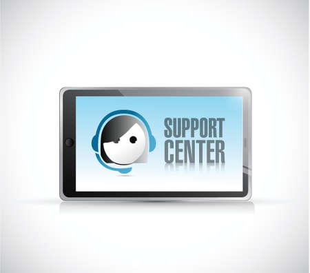 support center: tablet with support center illustration design over a white background Illustration
