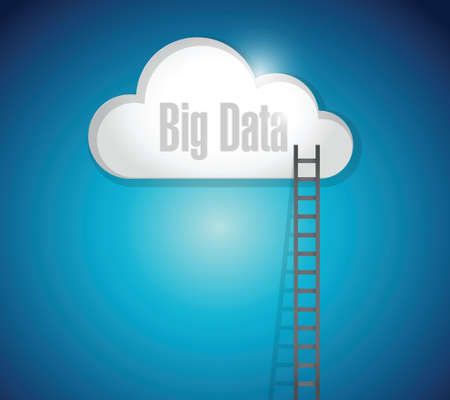 extention: bid data ladder and cloud. illustration design over a white background