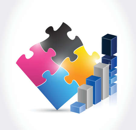 puzzle piece business graph illustration design over a white background