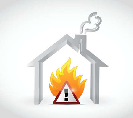 home fire warning sign illustration design over a white background Vector
