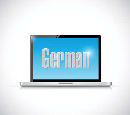 studing: learn german on your computer illustration design over a white background