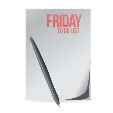 first day: friday to do list paper and pen. illustration design over a white background Illustration