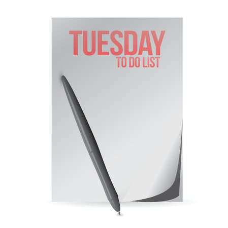 tuesday to do list paper and pen. illustration design over a white background