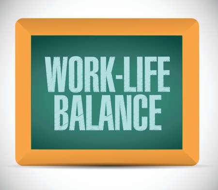 Work-Life-Balance auf einem Brett. Illustration, Design über einem weißen Hintergrund