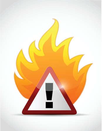 open flame: fire warning symbol illustration design over a white background