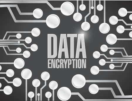 data-encryptie printplaat illustratie ontwerp op een zwarte achtergrond Stock Illustratie