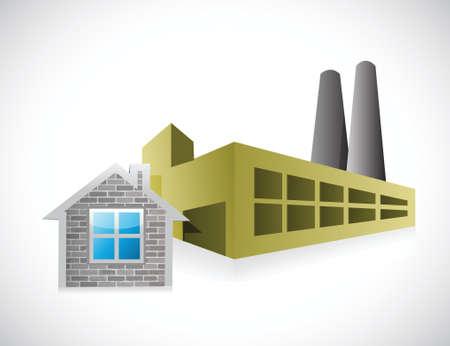 engeneering: home factory illustration design over a white background Illustration