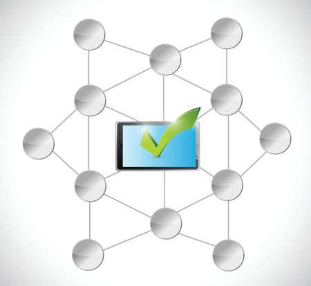 tablet check mark and diagram illustration design over a white background