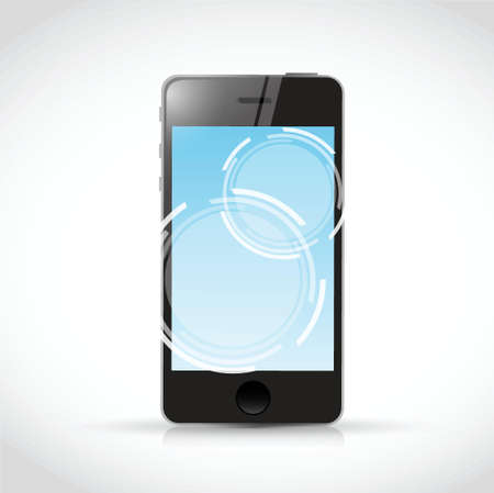 touch screen phone: touch screen phone and illustration design over a white background Illustration