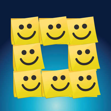 sticky note: happy faces on a set of post it. illustration design over a blue background