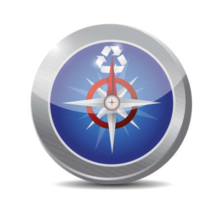 compass and recycle symbol. illustration design over a white background Vector