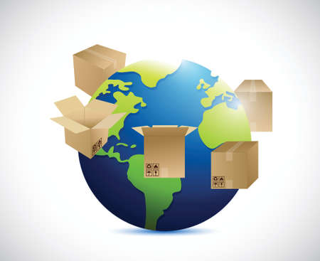 globe and shipping boxes around. illustration design over a white background Vector