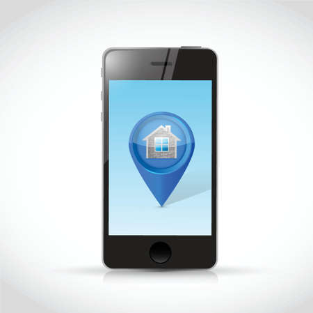 commercial real estate: phone and home locator pointer illustration design over a white background