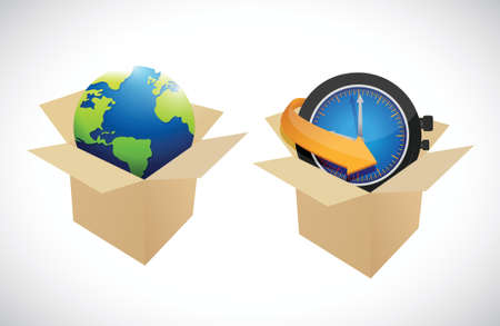 overnight delivery: globe and clock boxes illustration design over a white background