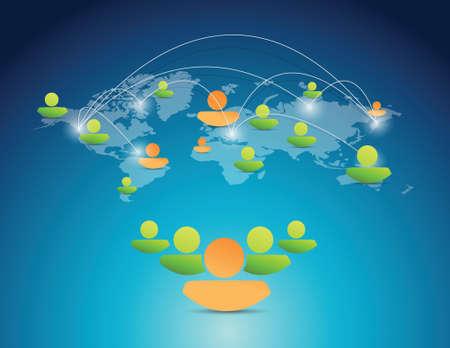 avatar netwerkverbinding sociaal netwerk. illustratie ontwerp op een blauwe achtergrond