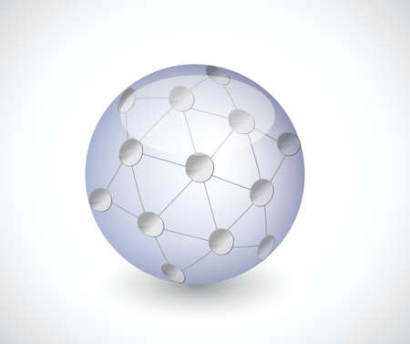 sphere network connection illustration design over a white background Vector