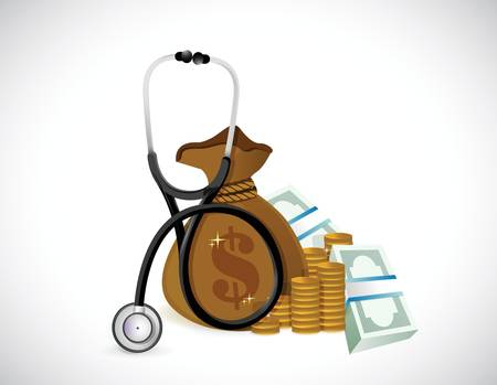 money and stethoscope. illustration design over a white background Illustration