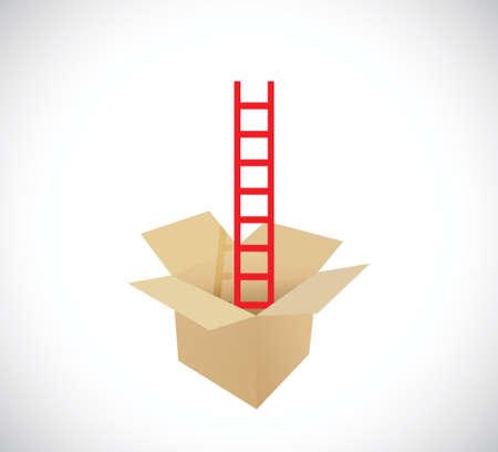 ladder inside a box. illustration design over a white background