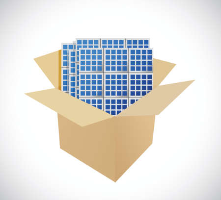 panels: boxes and solar panels illustration design over a white background