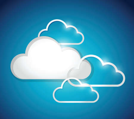 set of white clouds. illustration design over a blue background Vector