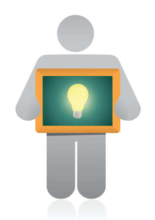 icon holding a idea light bulb illustration design over a white background