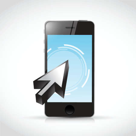 phone touchscreen and cursor illustration design over a white background