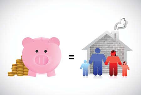 dream car: alcancía y la familia ilustración casa de diseño sobre un fondo blanco