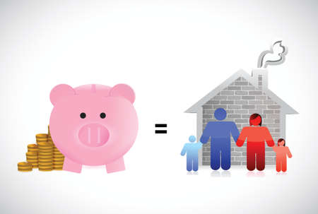 piggybank and family home illustration design over a white background Vector