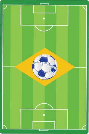 brazil soccer field flag illustration design graphic