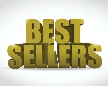 best seller gold sign illustration design over a white background Illustration