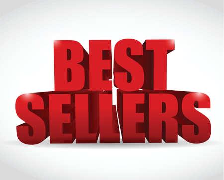 merchandize: best seller red sign illustration design over a white background