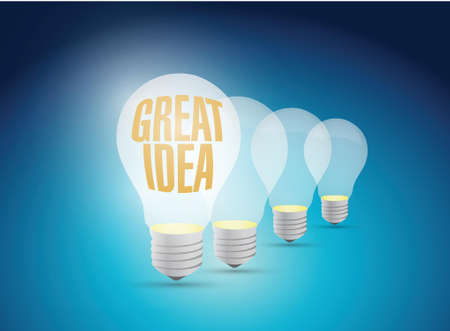 bright great idea illustration design over a blue background Vector