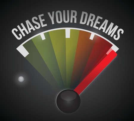 chase your dreams marker illustration design over a black background